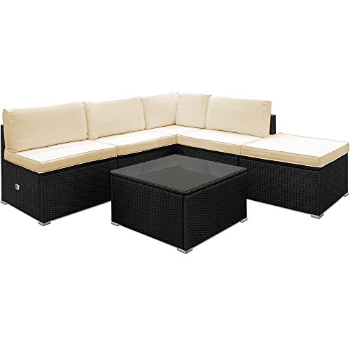 deuba poly rattan garden sofa set corner furniture black outdoor patio conservatory lounge with. Black Bedroom Furniture Sets. Home Design Ideas
