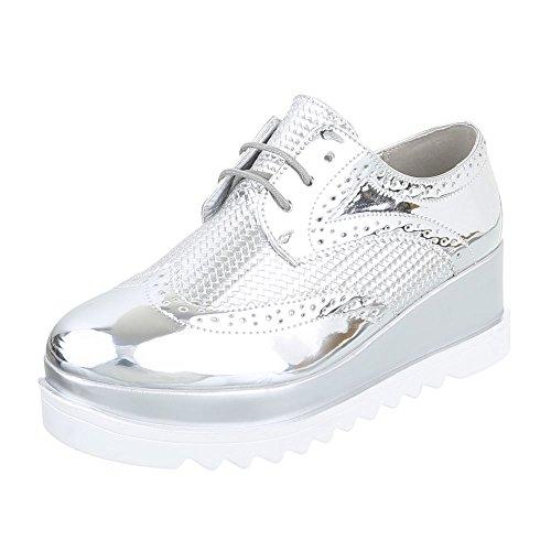 Ital-Design Schnürer Damen-Schuhe Oxford Schnürer Schnürsenkel Halbschuhe Silber, Gr 38, 62056-