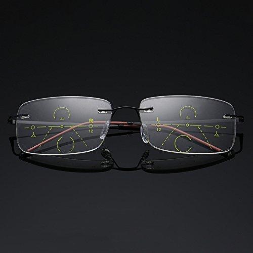 Lzndeal occhiali per leggere presbytes occhiali da lettura progressiva multifocal lens led anti affaticamento glasses per gli anziani occhiali senza montatura, nero