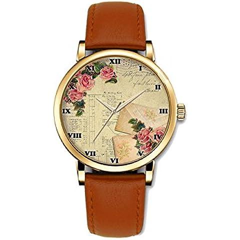 teeu Business Casual orologio da donna al quarzo speciale design con margherita e struttura unica, un orologio popolare, regalo di natale, Rose