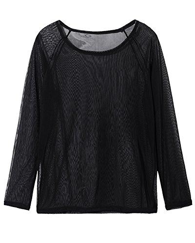StyleDome Damen Lanarm Durch Clubwear Slim Mesh Transparent Tops Shirts Schwarz&