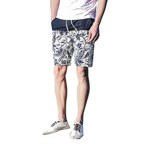 UJUNAOR Pantaloncini Uomo,Pantaloncini Uomo Sport,Pantaloncini da Spiaggia in Cotone con Cintura Elastica e Coulisse e Taschino,con Stampato Graffiti di personalità(X-Large,Blu)