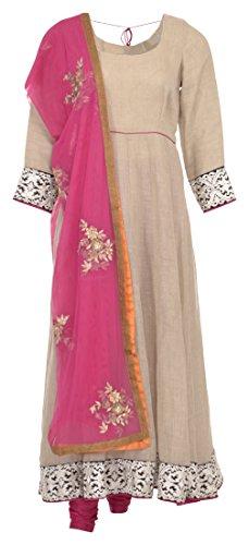 POONAM RAJEY Women's Jute And Net Salwar Suit Set (Magenta And Beige,...