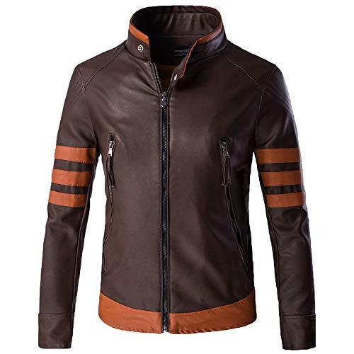 Nihiug giacche da moto per uomo impermeabile giacca in pelle per motociclisti impermeabile cappotto pesante giacca in pelle wolverine,brown-xxl