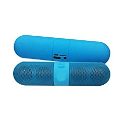 Portable Wireless Capsule Mini Bluetooth Speaker With Surround Sound Speakers With SD Card/Pen Drive Compatible With All Mobile Phone Models and Laptops- Blue By Rich Walker