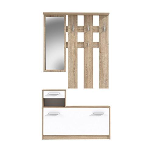 garderoben sets NEWFACE  Kompaktgarderobe, Holz, Sonoma Eiche Dekor, 97.5 x 25 x 180 cm