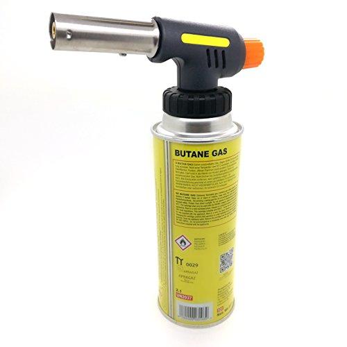 Starlet24 Bunsenbrenner Lötbrenner Gasbrenner Camping Gasanzünder Lötlampe mit Piezozündung + 4X MS-1a Gaskartuschen, Einstellbare Flammengröße mit Bajonett 417