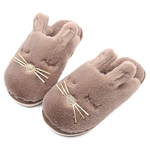 Cute Bunny Fuzzy Kids Slippers Warm Animal Plush Bedroom Slippers