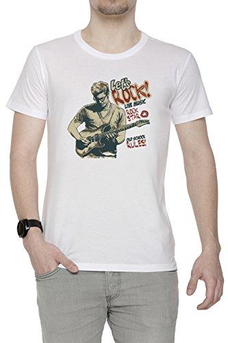 Lets Rock Uomo T-shirt Bianco Cotone Girocollo Maniche Corte White Men's T-shirt