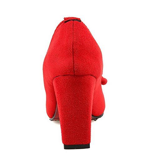 VogueZone009 Damen Mattglasbirne Spitz Zehe Hoher Absatz Ziehen Auf Rein Pumps Schuhe Rot