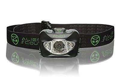 Stirnlampe von Alien Scout - High-End, Profi, Stoß- und Wetterfeste LED Kopflampe zum Laufen, Camping, Radfahren, Angeln, Gassi gehen, Lesen, Arbeiten, Handwerk oder Naturabenteuer - Einstellbar, leicht und ultrahell - Weiß/Rot/SOS-Leuchtmodi - inklusive