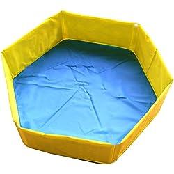 UKCOCO Piscina para Perros y Gatos, Bañera Plegable de Mascotas, Baño Portátil para Animales, 90 * 27cm (Amarillo)