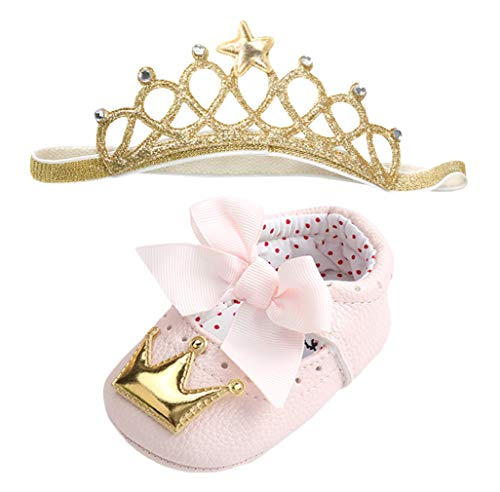 DEMU Stirnbänder Baby Mädchen Haarband Krone Kopfband Set mit Schuhe Taufe Geschenk Rosa mit Gelb 0-6 Monate