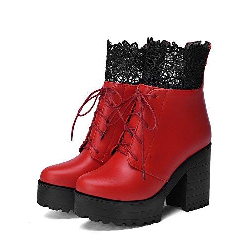 AllhqFashion Damen Rund Zehe Gemischte Farbe Niedrig-Spitze Hoher Absatz Stiefel Rot