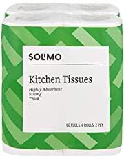 Solimo 2 Ply Kitchen Tissue Paper Roll - 4 Rolls (60 Pulls Per Roll)