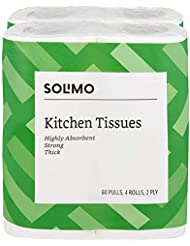 Amazon Brand - Solimo 2 Ply Kitchen Tissue Paper Roll - 4 Rolls (60 Pulls Per Roll)