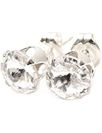 Men's 925 Sterling Silver stud earrings handmade with sparkling crystal from SWAROVSKI®.