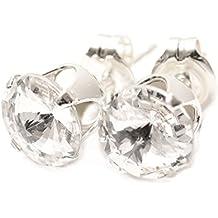 pewterhooter. Hombre Pendientes de plata de ley 925 hechos con cristal diamante blanco brillante de SWAROVSKI®.