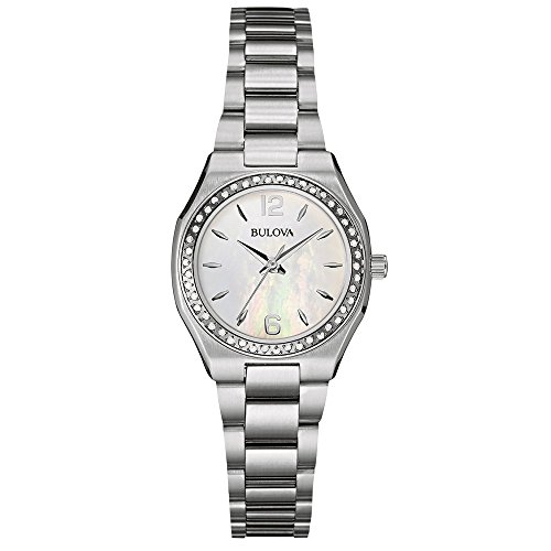 Bulova Diamond Women's Quartz Watch with Mother of Pearl Dial Analogue Display and Silver Stainless Steel Bracelet 96R199