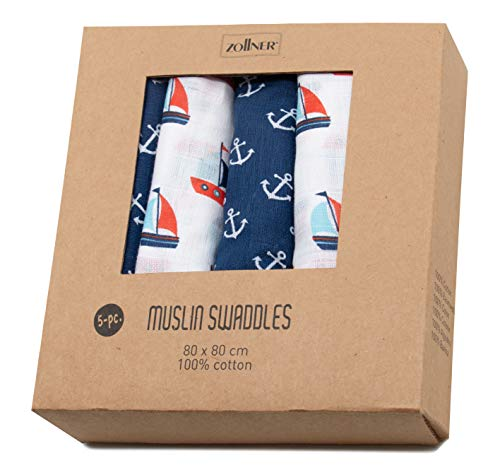 Zollner Set di 5 mussole neonato, 80/80 cm, 100% cotone, barchette e ancore