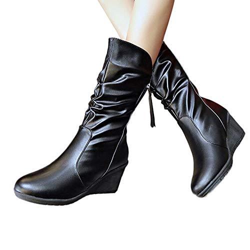 MYMYG Damen PU Lederschuhe Winter Herbst warme Stiefel Schnee Stiefel Warm Gefüttert Ankle Boots Plateau Quaste Stylische Walkingschuhe Freizeitschuhe Wildleder Schwarz