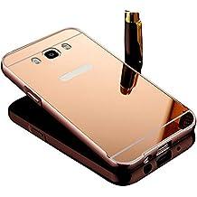 Vandot Duro Híbrido Carcasa para Samsung Galaxy J5 2016 J510 (no para Samsung Galaxy J5 2015 J500) Premium Bumper Case del Metal Aluminio + PC Ultrafina Espejo Protective Dura Caso y la Cubierta Piel -Oro Rosa