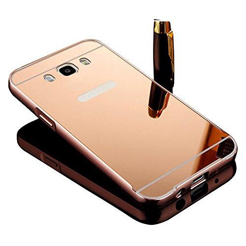 Vandot Duro Híbrido Carcasa para Samsung Galaxy J7 (2016 Version) Premium Bumper Case del Metal Aluminio + PC Ultrafina Espejo Protective Dura Caso y la Cubierta Piel -Oro Rosa