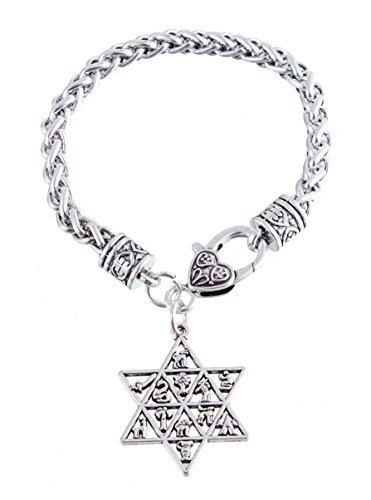 Estrella de David 12Tribus de Israel Wicca de la pulsera mosquetón Talisman amuleto joyería