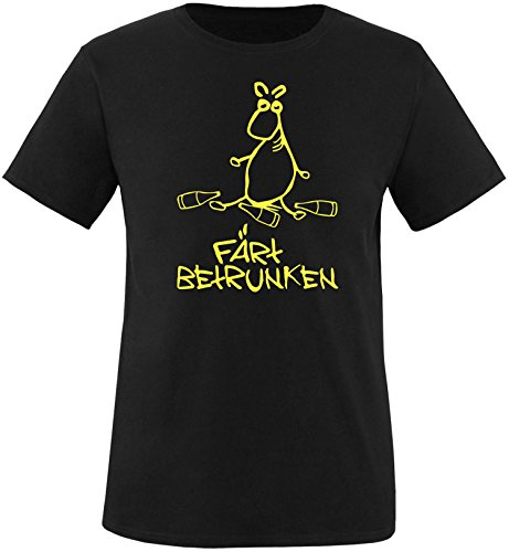 ezyshirt Färt betrunken Herren Rundhals T-Shirt Schwarz/Gelb