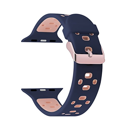 Foto de Para Apple Watch Series 3 Correa 38mm,iBazal iWatch Correa de Silicona con Estuche Protector TPU GRATIS para 38mm Apple Watch Nike+/ Series 3/Series 2/ Series 1 Versión - Azul / Rosa 38mm