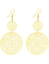 Aashya Mayro Long, Very Light Weight High Gold Plated Round Long Earrings For Women And Girls For Gifting