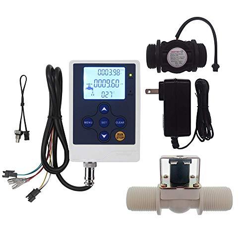 DIGITEN Wasserdurchflussregler LCD Display + G1 Wasserfluss Halle Effekt Sensor Schalter 1-60 l/min + Magnetventil normal geschlossen N/C + 12 V Netzteil -