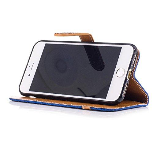 Nancen Wallet Case Hülle für Apple iPhone 6 / 6S (4,7 Zoll) ,länglich-Taste Magnet ,Muster Flip Funktion Kartenfächer Etui ,Schütze Dein Telefon Jeans-Muster-6