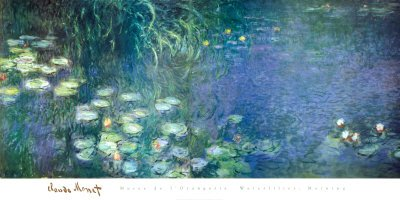 Water Lilies Morning Art Poster Print by Claude Monet, 153x77 cm