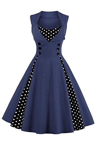 Kleider Damen Alltag A-linien-rock Casual hochzeitskleid Knielang Navyblau Misshow