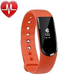 Pulsera Inteligente, LETSCOM ®Fitness Tracker con monitor del ritmo cardíaco, Podómetro,Monitor de sueño, Bluetooth 4.0,para iPhone iOS Android,Naranja