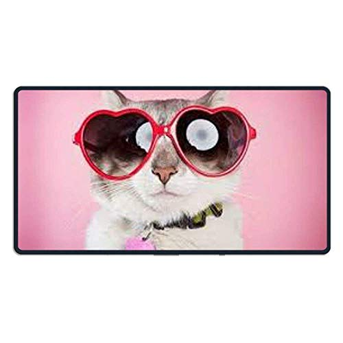 hanbaozhou Fußmatten Large Mouse Pad Cool Cat with Sunglasses Computer Mouse Mat (29.5x15.7x0.1IN,75x40CM)