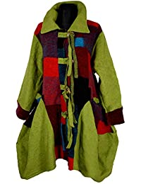 Damen Lagenlook Winter Übergang Wolle Mantel Swinger Trench Coat Patchwork  40 42 44 46 48 50 3c783aa36d