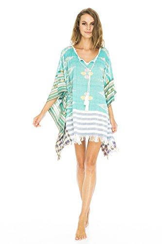 Rückseite aus Bali Damen Baumwolle Schnitt Woven Badeanzug Cover Up Tunika Strand Kleid, Green Ikat, onesize (Kaftan Vor)
