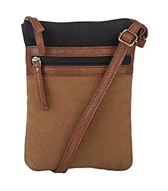 Mona B - 100% Cotton Canvas Small Sling Crossbody Bag with Stylish Design for Women