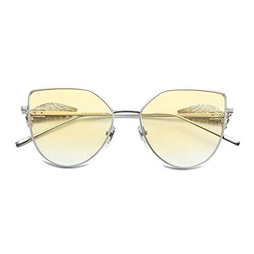 Lunettes de soleil ZHIRONG Mode Twin-Beams Classique Femmes Métal Cadre Miroir Cat Eye Lunettes (Couleur : 05) lmrKrdzvJ
