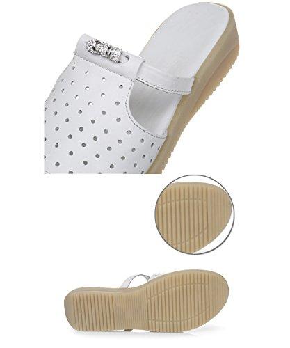 CHAOXIANG Pantofole Da Donna Antiscivolo Ciabatte Piatte Sandali Da Surf Nuova Estate Ciabatte Spiaggia ( Colore : Bianca , dimensioni : EU39/UK6/CN40 ) Bianca