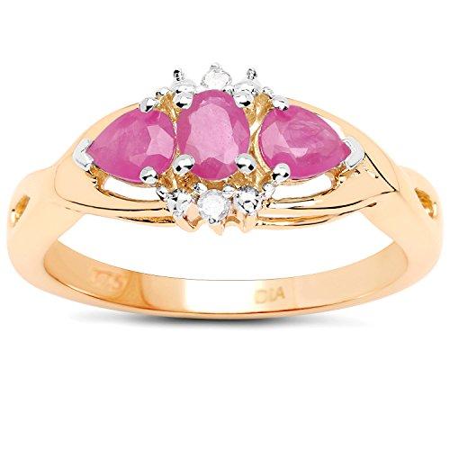 La Collection Bague Rubis : 9ct Or en Rubis et de Diamant, de Bague de fiançailles, Taille Bague 53