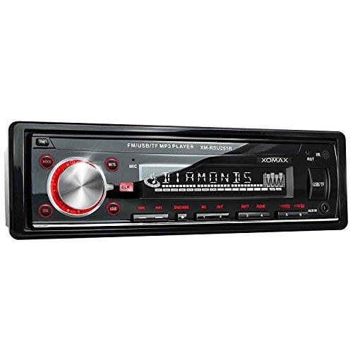 XOMAX XM-RSU251R Autoradio USB Anschluss & Micro SD für MP3 und WMA + Beleuchtungsfarbe rot + AUX-IN + Verkürzte Einbautiefe + 1 DIN + inkl. Einbaurahmen und Fernbedienung