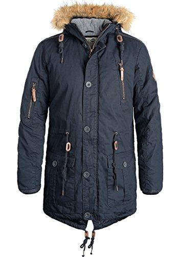 SOLID Clark Herren Parka Winterjacke mit hochabschließendem Kragen und Kapuze aus 100% Baumwolle Insignia Blue (1991)