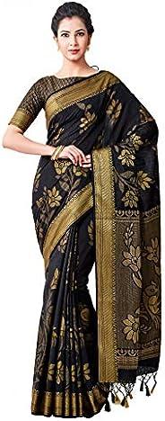 VIBTAG Women's Brocade Silk Blend Saree With Unstitched Blouse (4_Bl