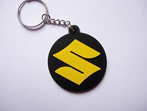 Llavero Suzuki caucho redondo amarillo. Perfecto mochilas