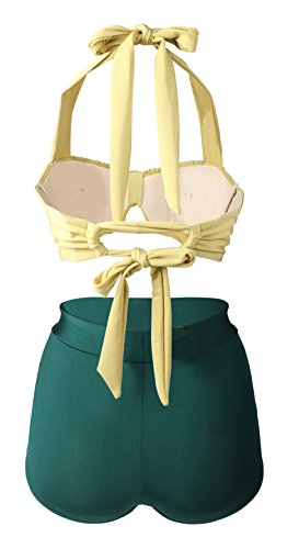 Gigileer Damen Retro Badeanzug Bademode Bikini Set hohe Teillen gelb & gruen XL -