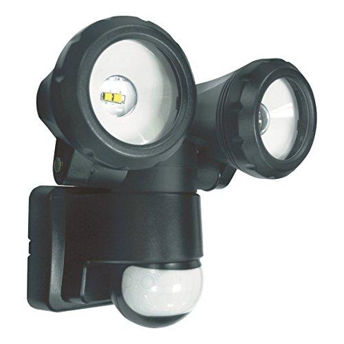 ELRO LT3505P 2-Köpfige LED-Außenleuchte mit Bewegungsmelder 2 x 5 W, 800 lm, Schwarz, Plastik, 2x 5W