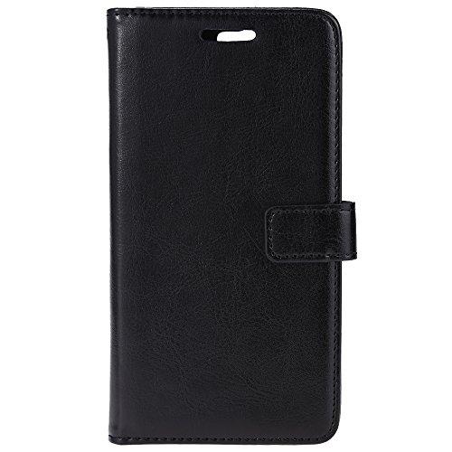 Fjiujin,Ultra Slim Leather Wallet Card Slot Schutzhülle für Huawei G7(Color:SCHWARZ) - Schwarz Leather Slim Wallet